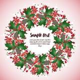 卡片设计与圣诞节花圈的 库存照片