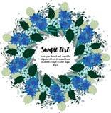 卡片设计与花卉花圈的 免版税库存照片