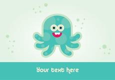卡片设计章鱼 免版税库存照片