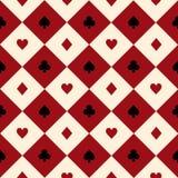 卡片适合红色伯根地奶油色米黄黑白色棋盘金刚石背景 免版税库存图片