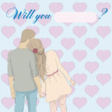 卡片:您是否与我结婚? 库存照片