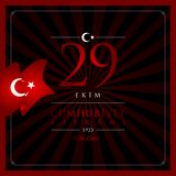 卡片10月29日,共和国天土耳其庆祝 免版税库存图片