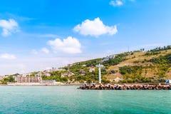 卡瓦尔纳,沿海城市风景在保加利亚 免版税库存图片