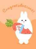 贺卡用白色野兔 兔子立场和举行红萝卜 库存照片