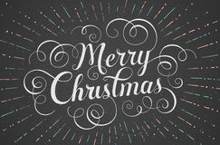 贺卡的白色在上写字的圣诞快乐 库存图片