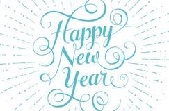 贺卡的蓝色在上写字的新年快乐  库存图片