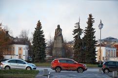 卡累利阿 对列宁的纪念碑在市彼得罗扎沃茨克 2017年11月14日 库存照片