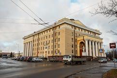 卡累利阿 市的城市风景彼得罗扎沃茨克 剧院 2017年11月14日 免版税图库摄影