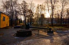 卡累利阿 市的城市风景彼得罗扎沃茨克 2017年11月14日 免版税库存图片
