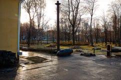 卡累利阿 市的城市风景彼得罗扎沃茨克 2017年11月14日 免版税库存照片