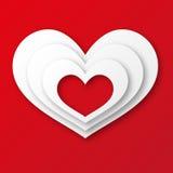 贺卡红色爱心脏 库存照片