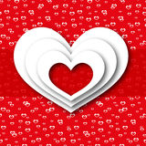 贺卡红色爱心脏 库存图片