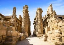 卡纳克神庙寺庙,卢克索,埃及古老废墟  免版税库存照片