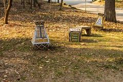 卡罗尔公园在布加勒斯特,罗马尼亚 空的胡同 免版税库存图片