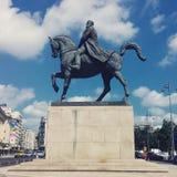 國王卡羅爾一世的馬雕像我 免版税库存照片