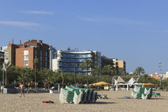 卡莱利亚晚上海滩  免版税库存图片