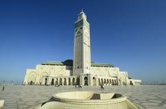 卡萨布兰卡入口前面哈桑ii摩洛哥清真寺正方形 库存照片
