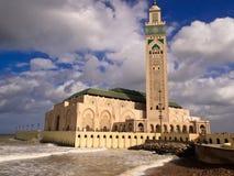 卡萨布兰卡哈桑ii尖塔清真寺视图 免版税库存照片
