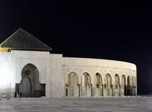 卡萨布兰卡哈桑ii摩洛哥清真寺晚上 免版税库存图片