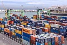 卡萨布兰卡海港的,摩洛哥集装箱码头 库存照片