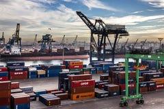 卡萨布兰卡海港的,摩洛哥集装箱码头 图库摄影