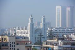 卡萨布兰卡,摩洛哥屋顶视图  库存图片