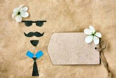 贺卡补花、面孔与玻璃,髭和胡子 免版税库存图片