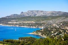 卡西斯海湾和海 彻特Azur,普罗旺斯,法国 库存照片