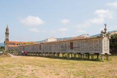 卡诺塔,加利西亚,西班牙Horreo粮仓  免版税库存图片