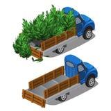卡车交付圣诞树,充分的汽车并且倒空 向量例证