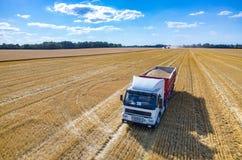 卡车充满麦子种子 免版税库存照片
