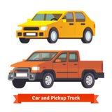卡车和中号轿车在3d 库存照片