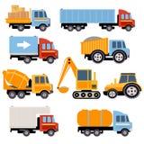卡车和拖拉机被设置的平的样式 库存例证
