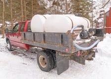 卡车和枫糖容器在床上 库存照片