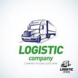 卡车商标模板 后勤卡车商标 查出的向量例证 库存例证