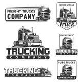 卡车商标集合服务和修理黑白色传染媒介例证 库存图片