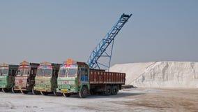 卡车在古吉特拉人盐工作 库存图片