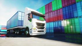 卡车在容器集中处, wharehouse,海口 3d被回报的货箱图象 后勤和企业概念 现实4K动画 向量例证