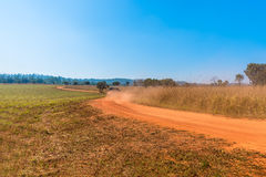 卡车在曲线土路驾驶在大草原森林里 免版税库存照片