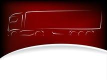 卡车在红色背景的剪影设计 免版税库存照片