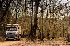 卡车在建造场所 免版税库存图片