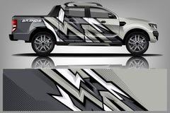 卡车套设计 套、贴纸和标签设计 库存例证