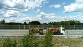 卡车寄生虫视图有日志堆的 影视素材