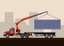 卡车有货物的起重机拖车 免版税图库摄影