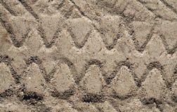 卡车沙子表面上的轮胎版本记录 库存图片