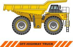 卡车的高速公路 大量开采的卡车 向量 免版税库存照片