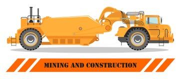 卡车的高速公路 重的采矿机和建筑器材 也corel凹道例证向量 库存例证