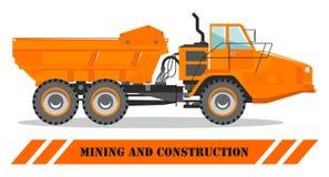卡车的高速公路 重的采矿机和建筑器材 也corel凹道例证向量 向量例证