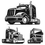 卡车集合黑白传染媒介例证 图库摄影