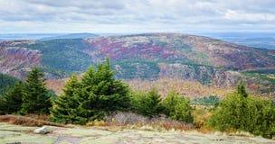 从卡迪拉克山阿科底亚国家公园的看法在秋天 免版税库存照片